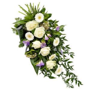 rouwboeket wit en lila