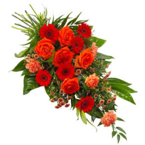 rouwboeket speciaal oranje rood